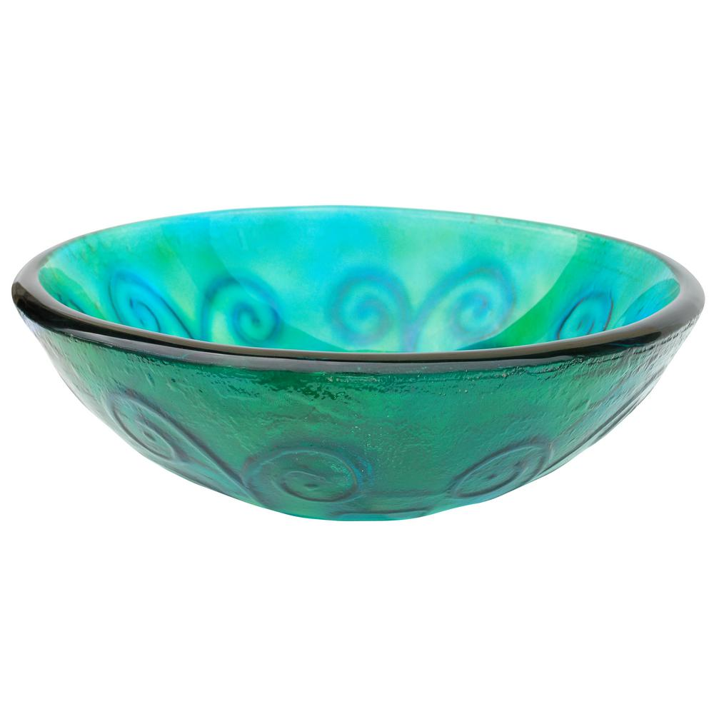 Swirls Glass Vessel Sink in Green and Blue with Pop-Up Drain