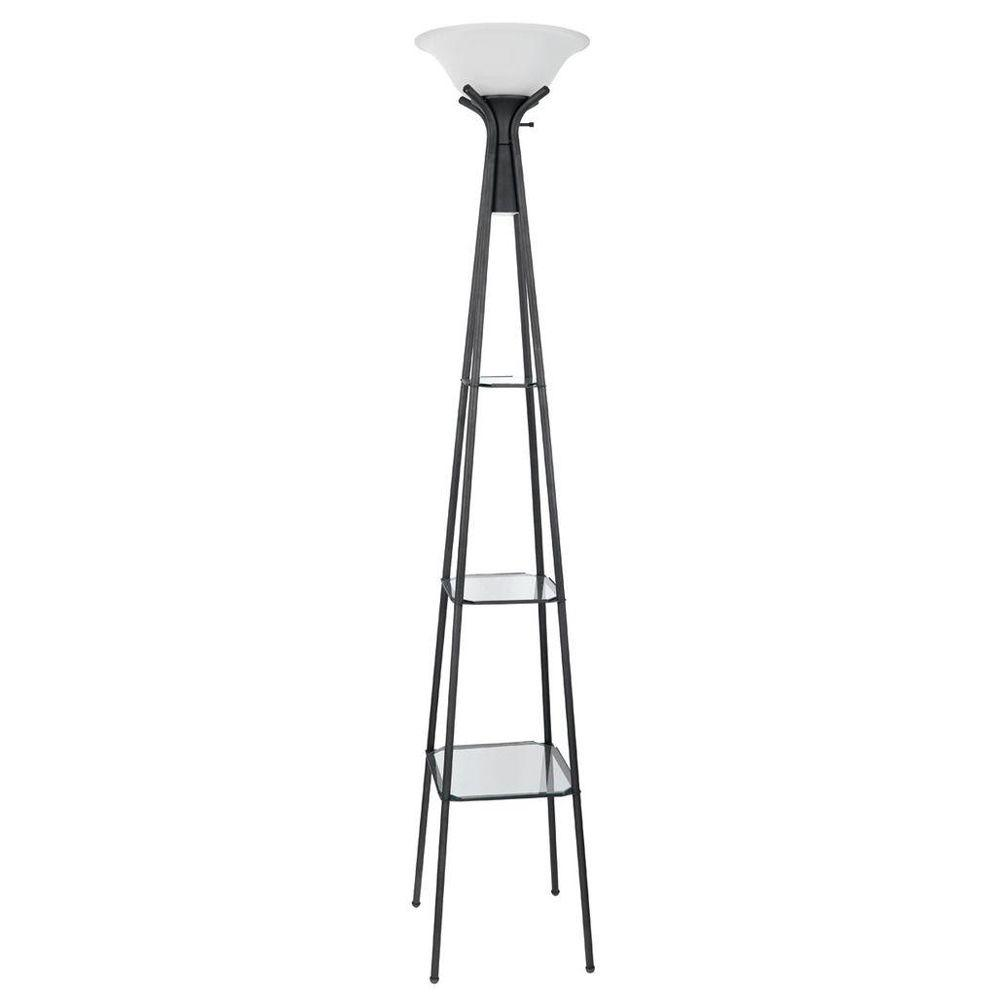 Globe Electric 70 in. Charcoal Grey Dual Light Directional Floor Lamp with Glass Shelving