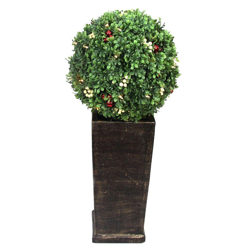 Home Accents Holiday 3.16 ft. Pre-Lit LED Boxwood Artificial Christmas Tree
