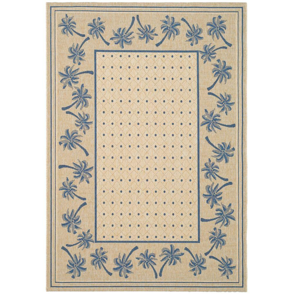 Courtyard Ivory/Blue 5 ft. 3 in. x 7 ft. 7 in.