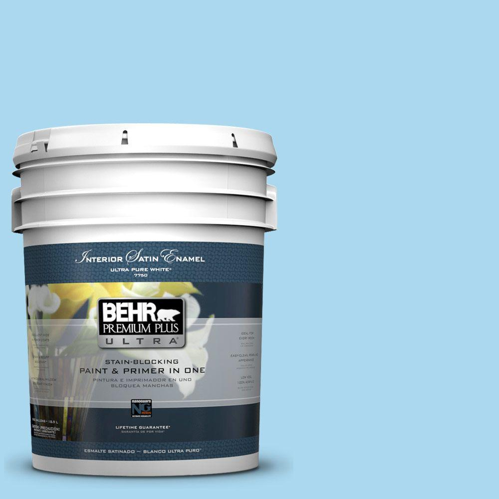 5-gal. #540A-3 Blue Feather Satin Enamel Interior Paint