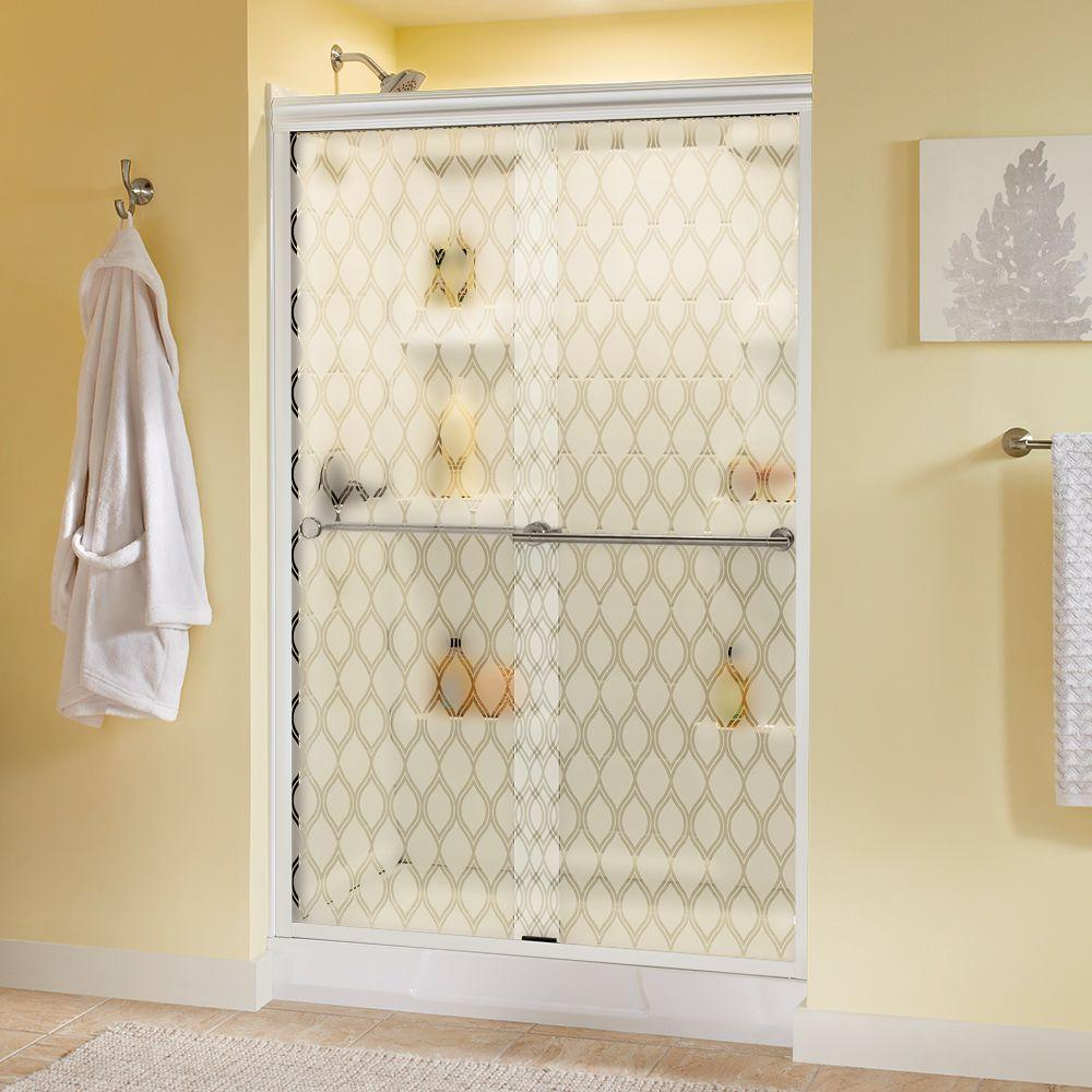 Delta Lyndall 48 in. x 70 in. Semi-Frameless Sliding Shower Door in White with Nickel Handle & Ojo Glass