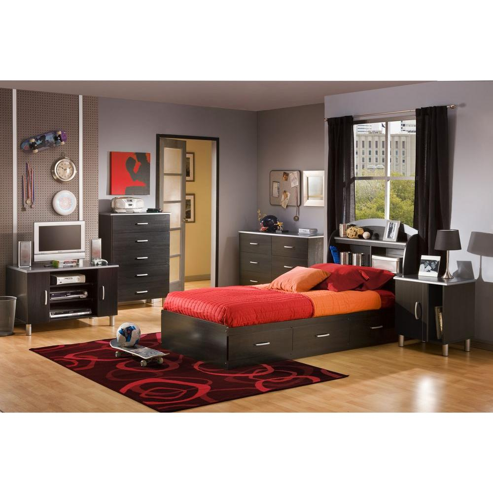 South Shore Cosmos Onyx/Charcoal Twin Storage Bed in Black-3127080 - The