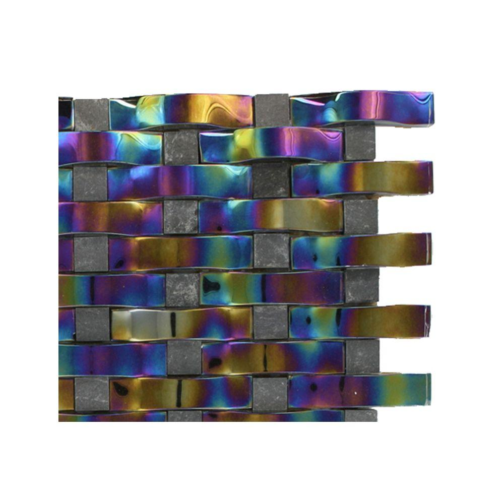 Splashback Tile Contempo Curve Rainbow Black Glass Mosaic Floor and Wall Tile - 3 in. x 6 in. x 8 mm Tile Sample