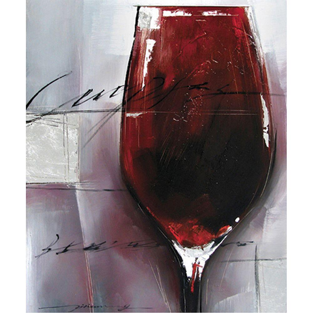 "Yosemite Home Decor 24 in. x 20 in. ""Cabernet Rouge"" Hand Painted Contemporary Artwork"