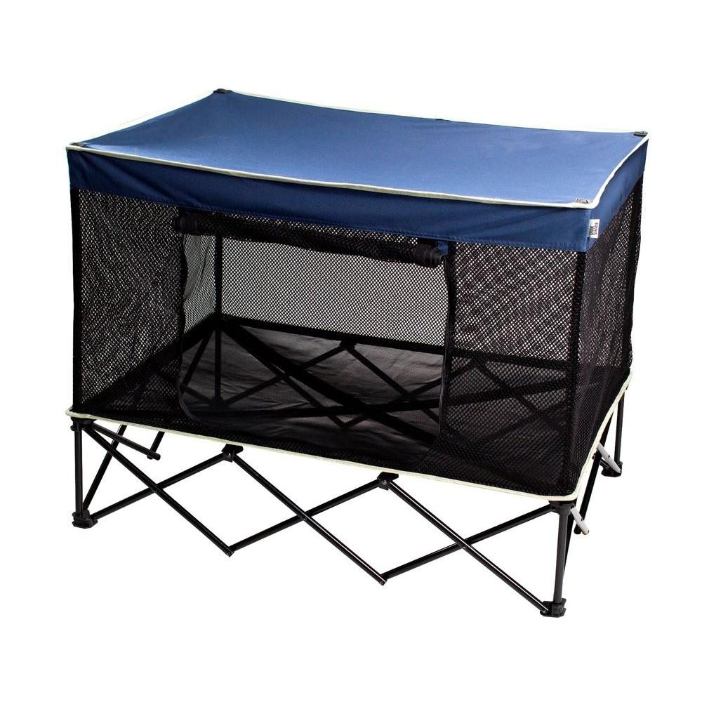 Quik Shade 3-1/2 ft. W x 2-1/2 ft. D Large Instant Pet Kennel with Mesh Bed in Navy Blue