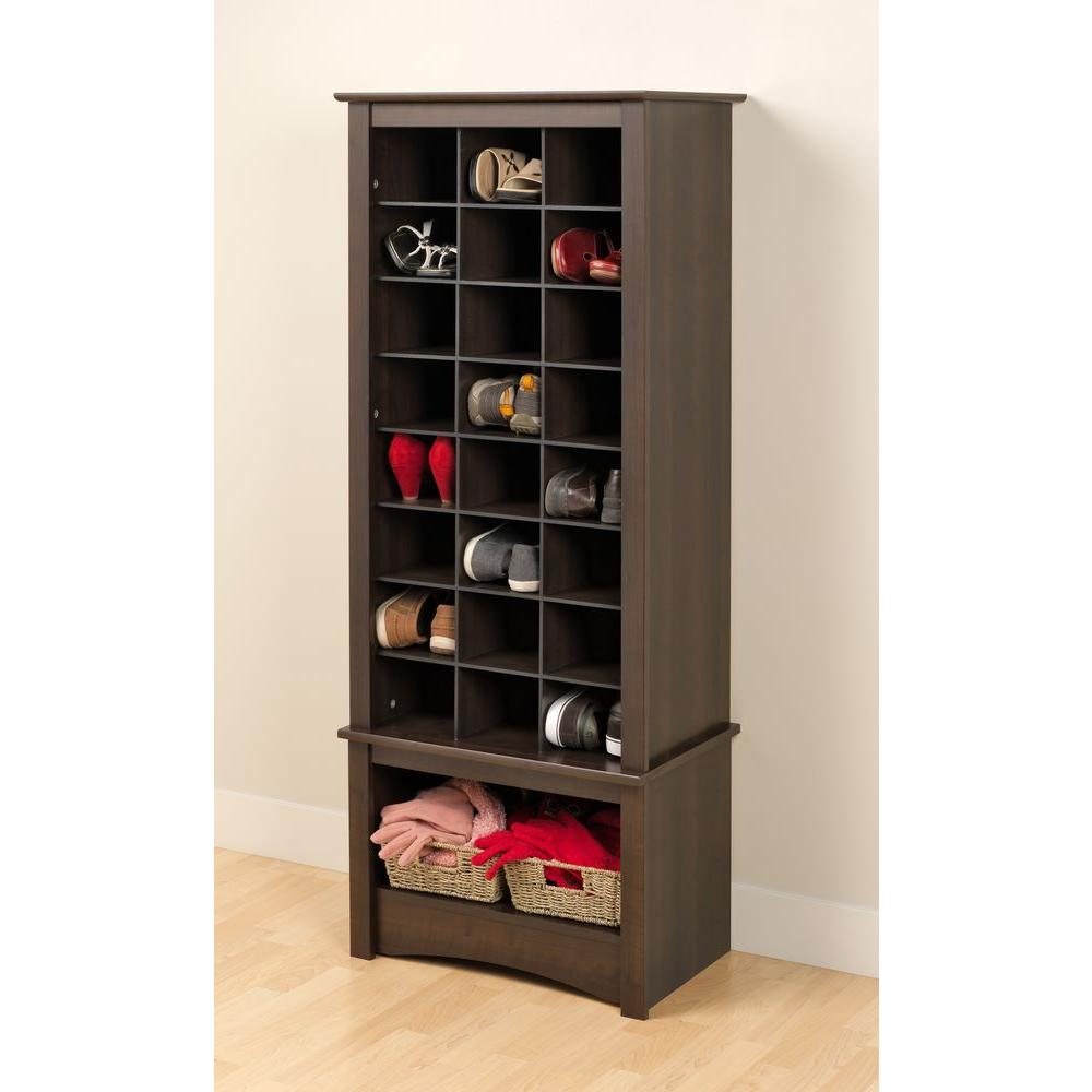 Tall 24-Shoe Capacity Cubbie Cabinet Tower in Espresso