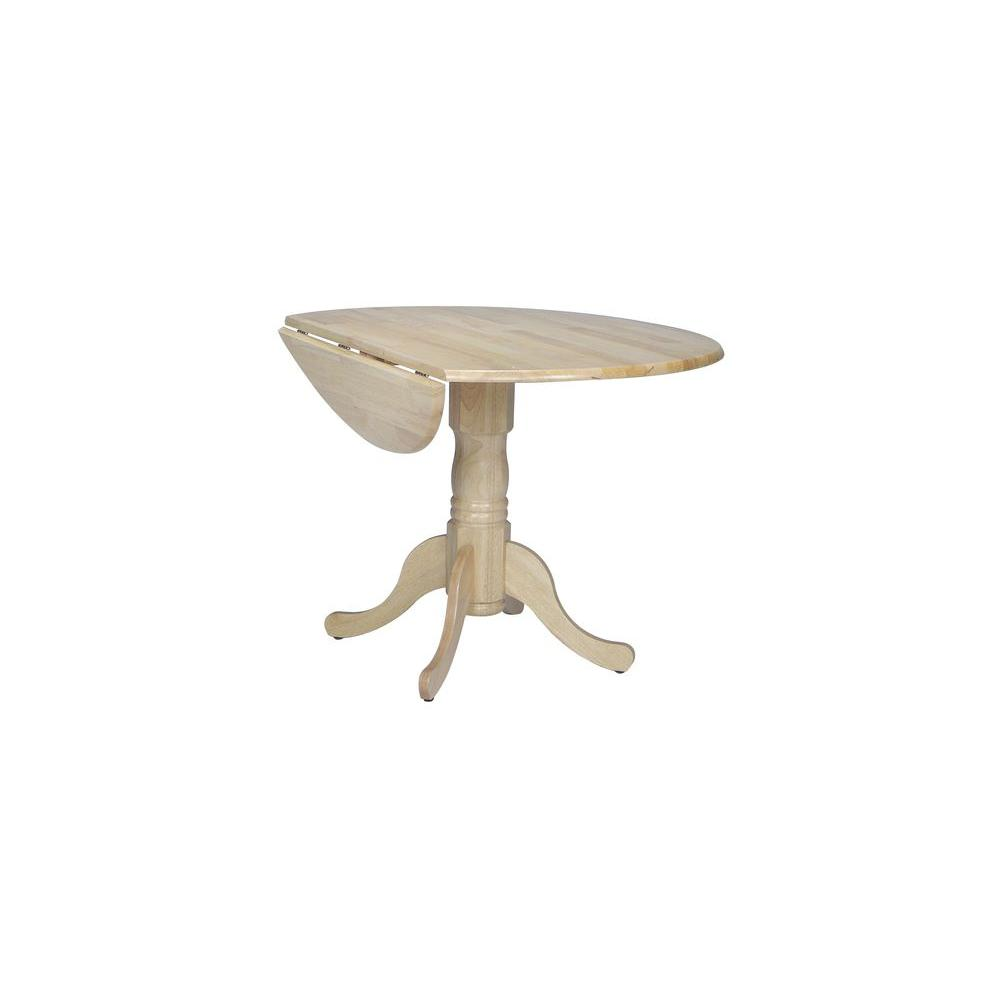 International concepts small drop leaf wood unfinished for Drop leaf dining table