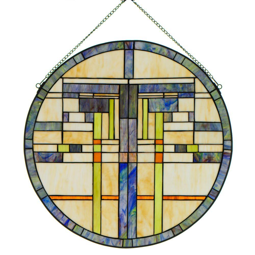 Home Decorators Collection 24 in. W Logan Blue Multi Round Art Glass-DISCONTINUED