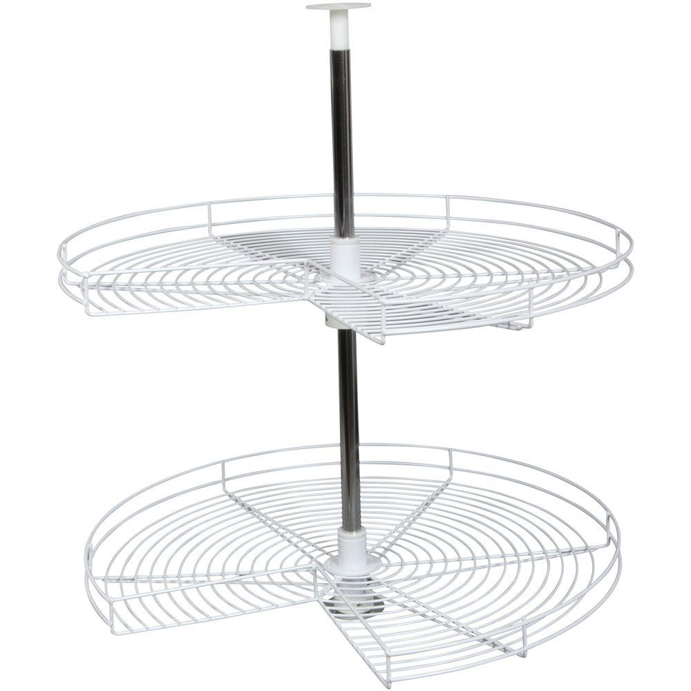 Knape & Vogt 30.5 in. x 32 in. x 20.75 in. Kidney Shaped White Wire Lazy Susan Cabinet Organizer