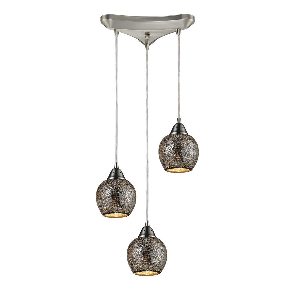 Fission 3-Light Satin Nickel Ceiling Mount Pendant