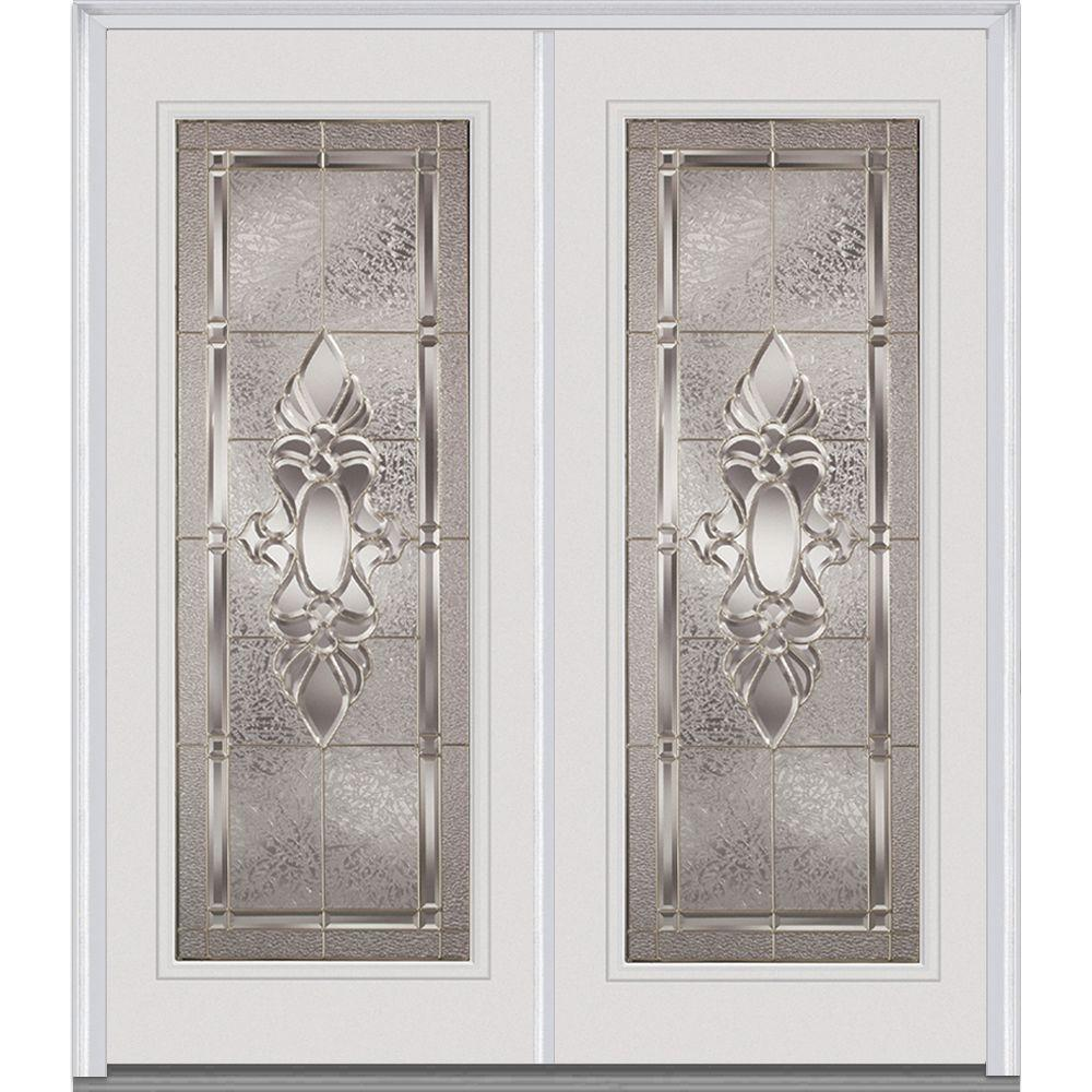 72 in. x 80 in. Heirloom Master Decorative Glass Full Lite Painted Builder's Choice Steel Double Prehung Front Door, Brilliant White