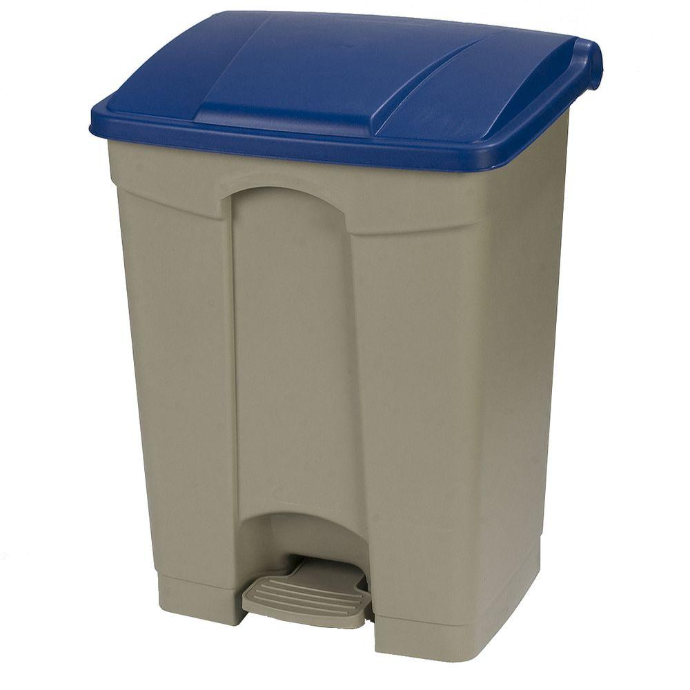 18 Gal. Beige Rectangular Touchless Step-On Trash Can with Blue Lid