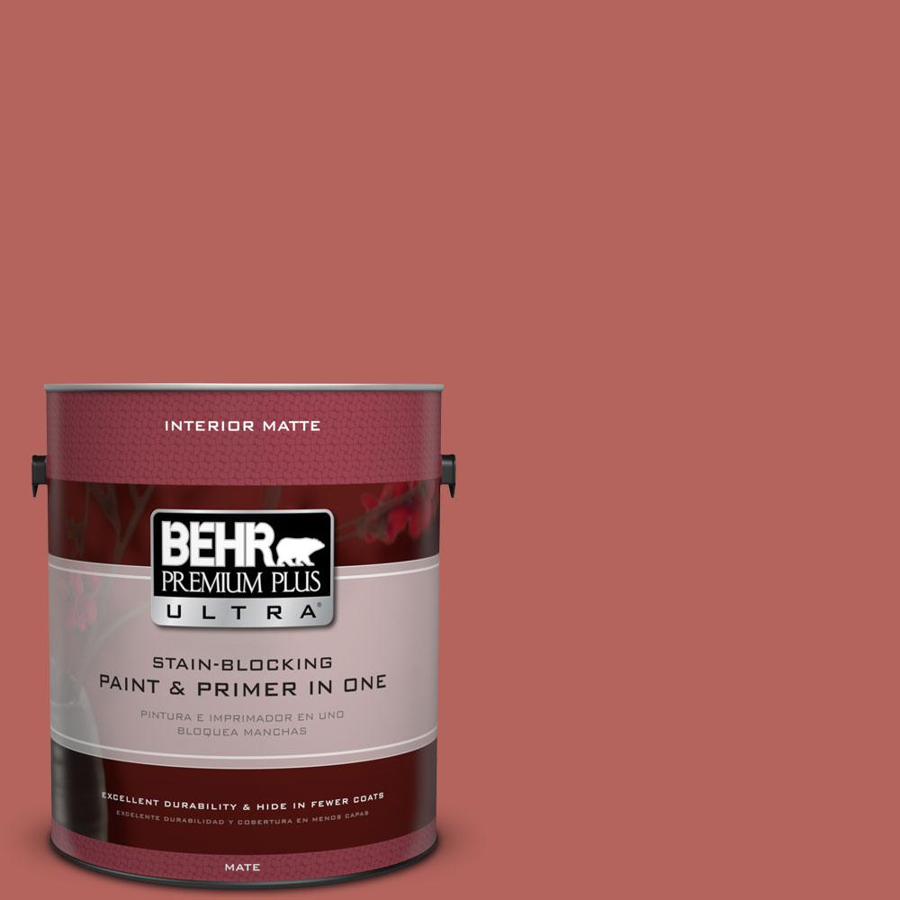 BEHR Premium Plus Ultra 1 gal. #180D-6 Mineral Red Flat/Matte Interior Paint