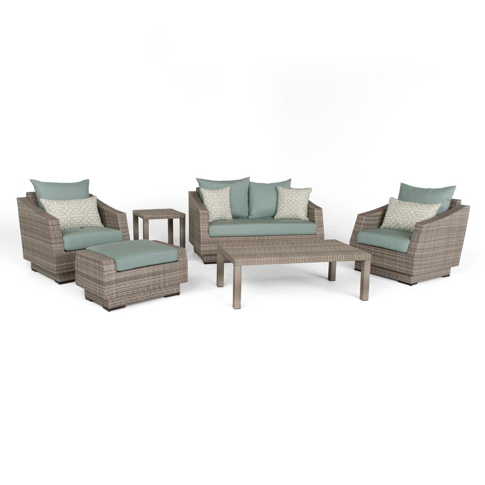 Cannes 6-Piece All-Weather Wicker Patio Love and Club Seating Set with