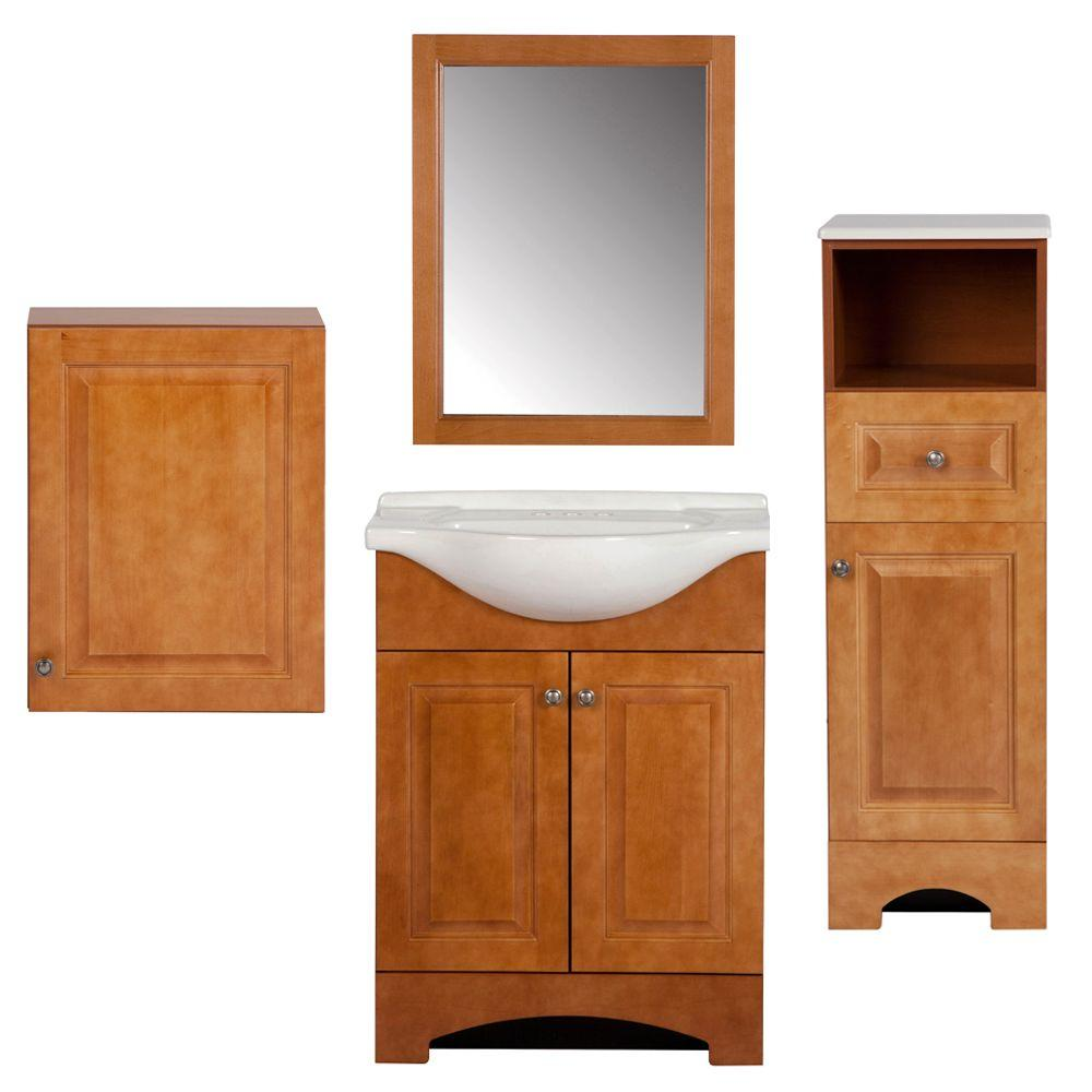 Glacier Bay Chelsea Bath Suite with 24 in. Vanity with Vanity Top in Linen Tower Over-the-John and Wall Mirror in Nutmeg