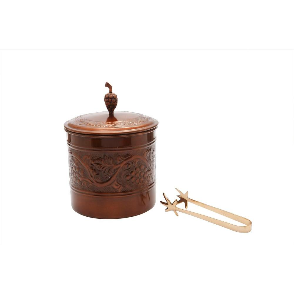 Old Dutch 7.25 in. x 9.75 in. Antique Embossed Heritage Ice Bucket with Brass Tongs