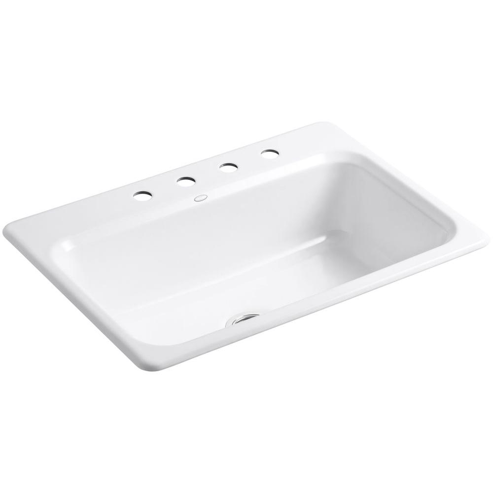 Bakersfield Top-Mount Cast Iron 31 in. 4-Hole Single Bowl Kitchen Sink in White