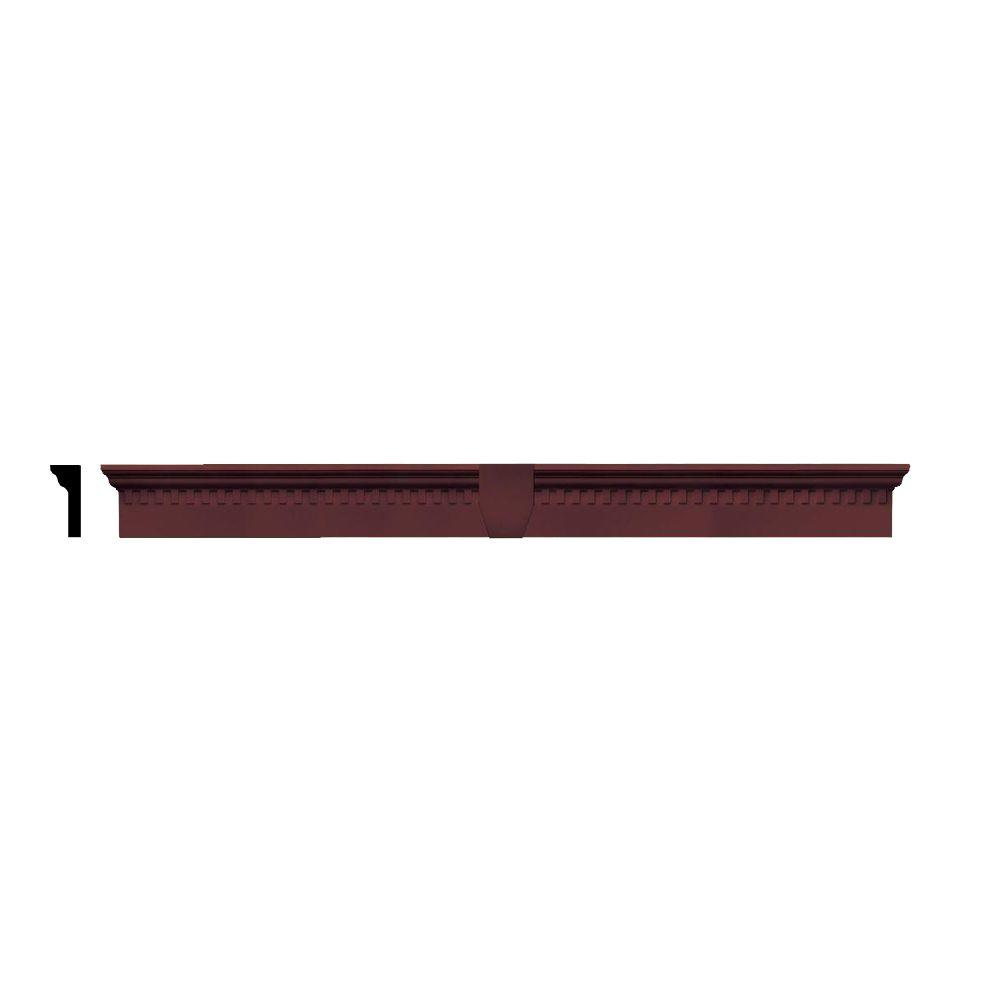 Builders Edge 2-5/8 in. x 6 in. x 65-5/8 in. Composite Classic Dentil Window Header with Keystone in 167 Bordeaux Red