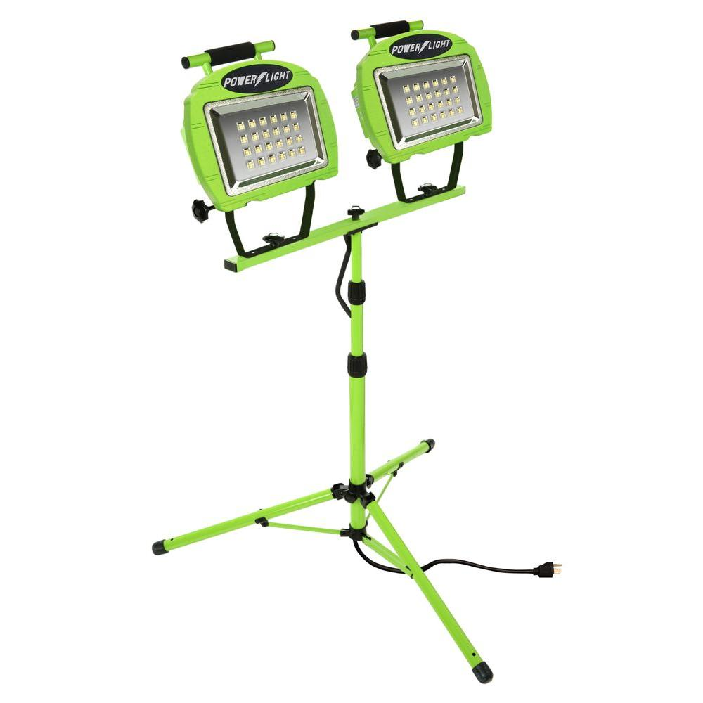 High Intensity Green 24-LED Twin Tripod Work Light with 5 ft.
