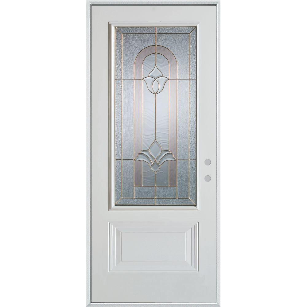 32 in. x 80 in. Traditional Brass 3/4 Lite 1-Panel Painted