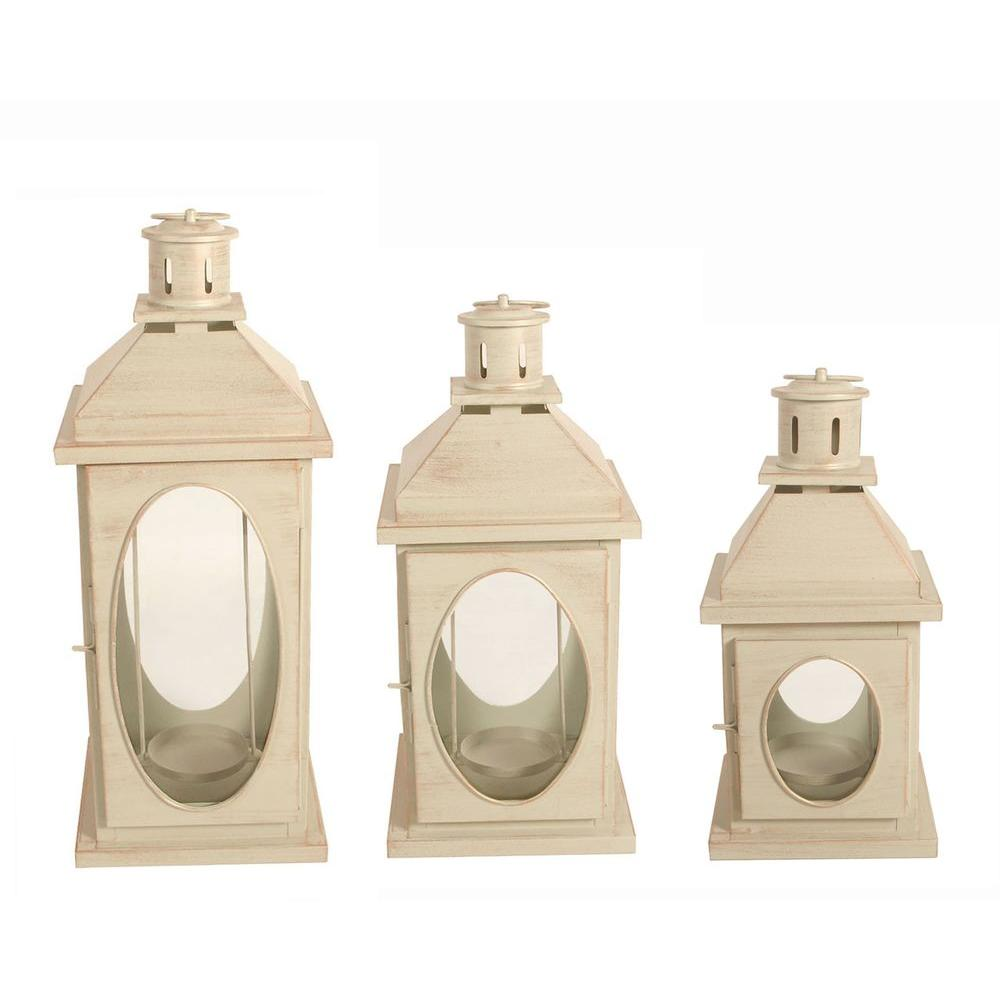null Oval Cutout Candle Lantern Set (3-Pack)