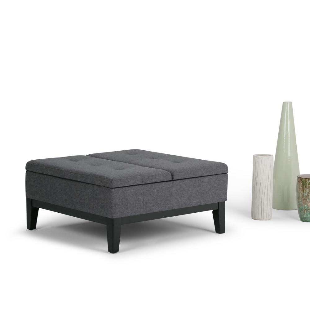 Simpli home avalon large rectangular linen look storage ottoman in slate grey axcf18 gl the Linen ottoman coffee table