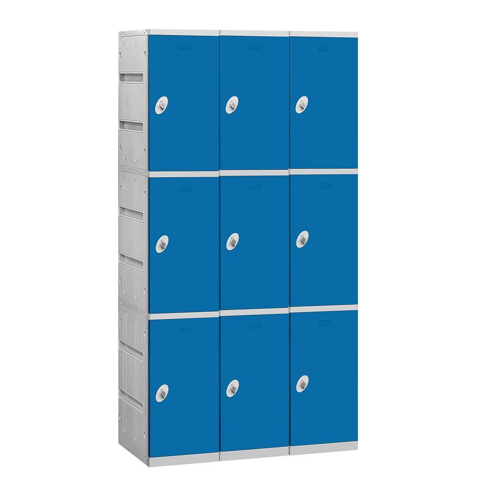 Salsbury Industries 93000 Series 38.25 in. W x 74 in. H x 18 in. D 3-Tier Plastic Lockers Assembled in Blue