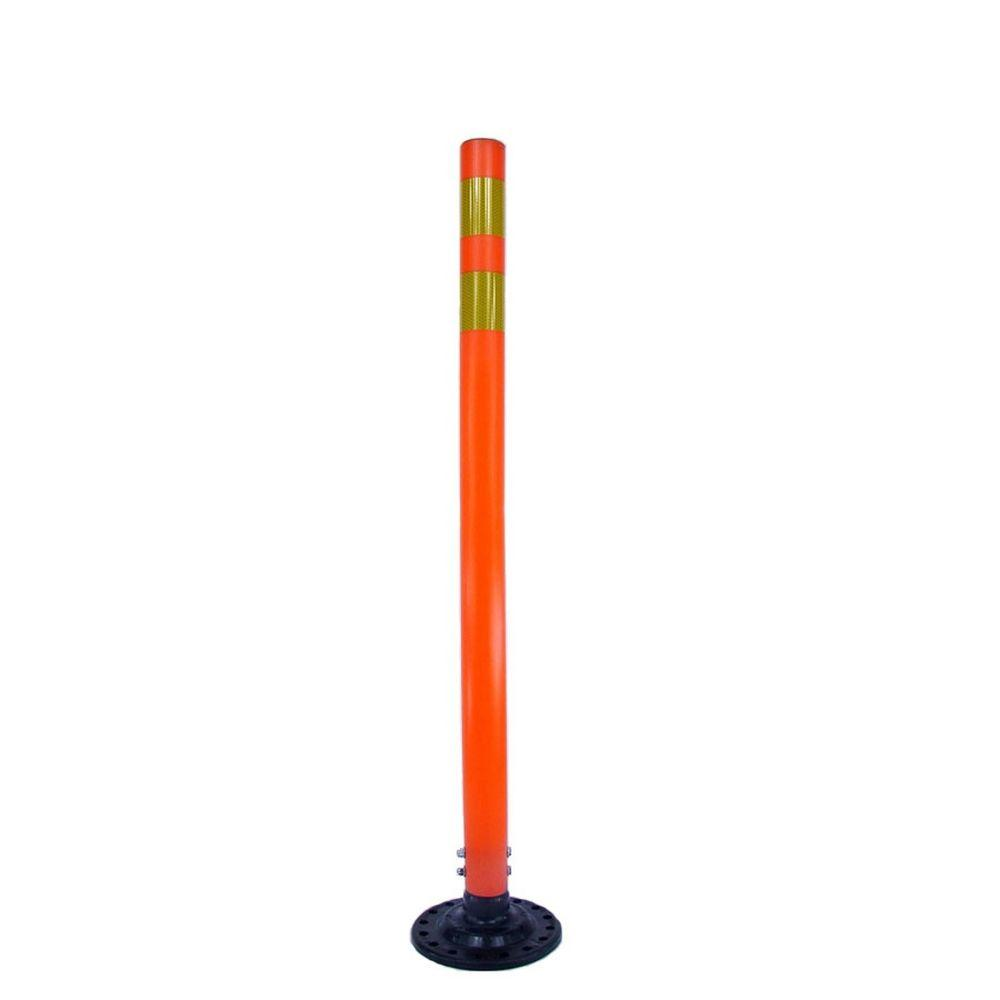 Three D Traffic Works 42 in. Orange Round Delineator Post and Base with High-Intensity Yellow Band