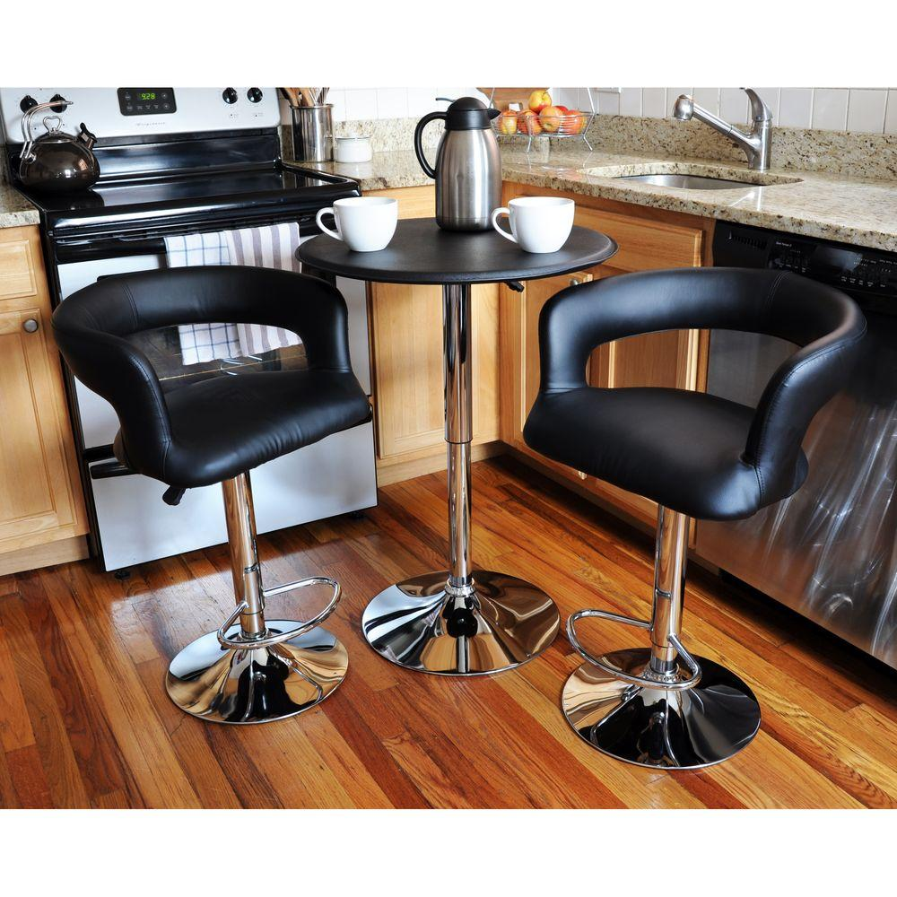 Modern Style Bistro Bar Stool and Table Set in Black (3-Piece Set)