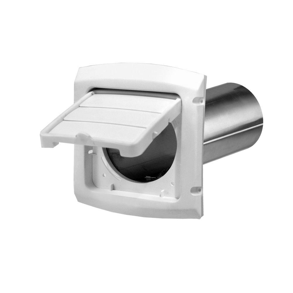 4 in. Hinged Louvered Vent Hood in White