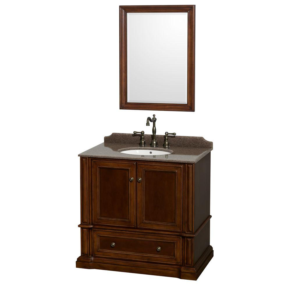 Wyndham Collection Rochester 36 In Vanity In Cherry With Granite Vanity Top