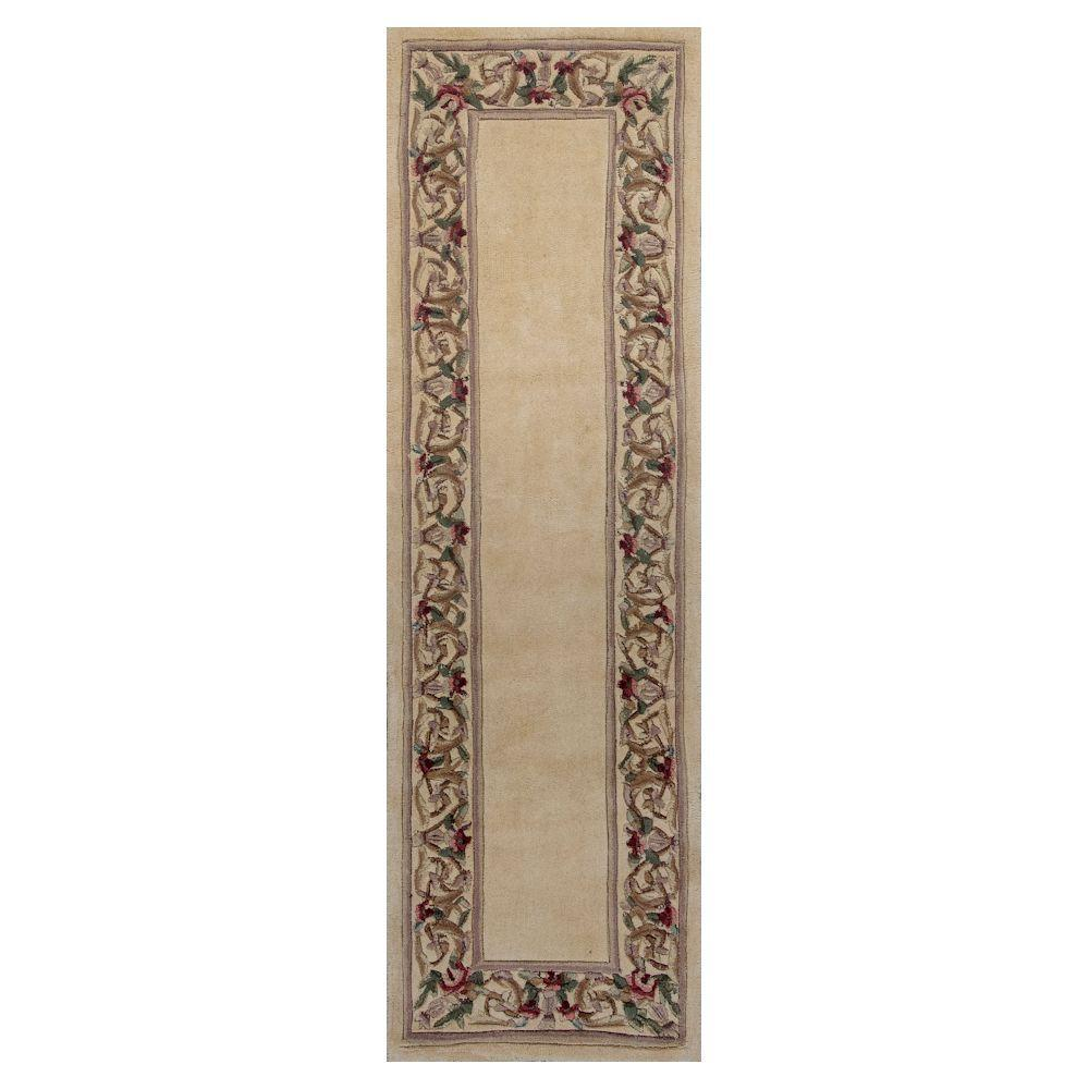 Lush Floral Border Ivory 2 ft. 3 in. x 9 ft.