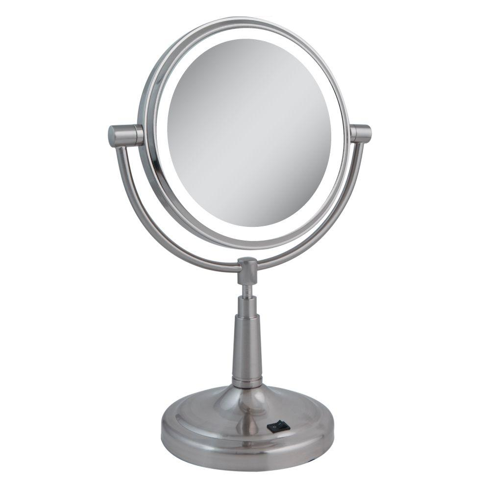 LED Lighted 5X/1X Vanity Mirror in Satin Nickel