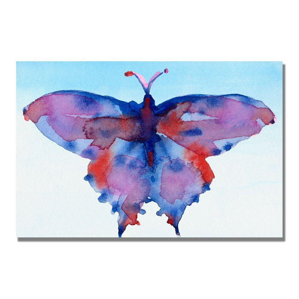 Trademark Fine Art 16 in. x 24 in. Fantasy Butterfly Blue and Red Canvas Art-DISCONTINUED
