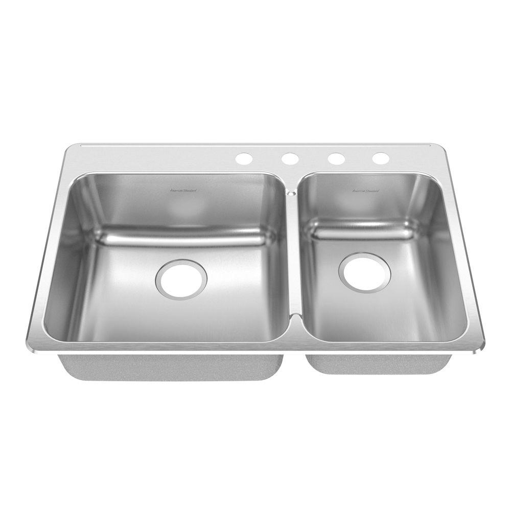 American Standard Prevoir Drop-In Brushed Stainless Steel 33.375x22x8 in. 4-Hole Double Bowl Kitchen Sink-DISCONTINUED