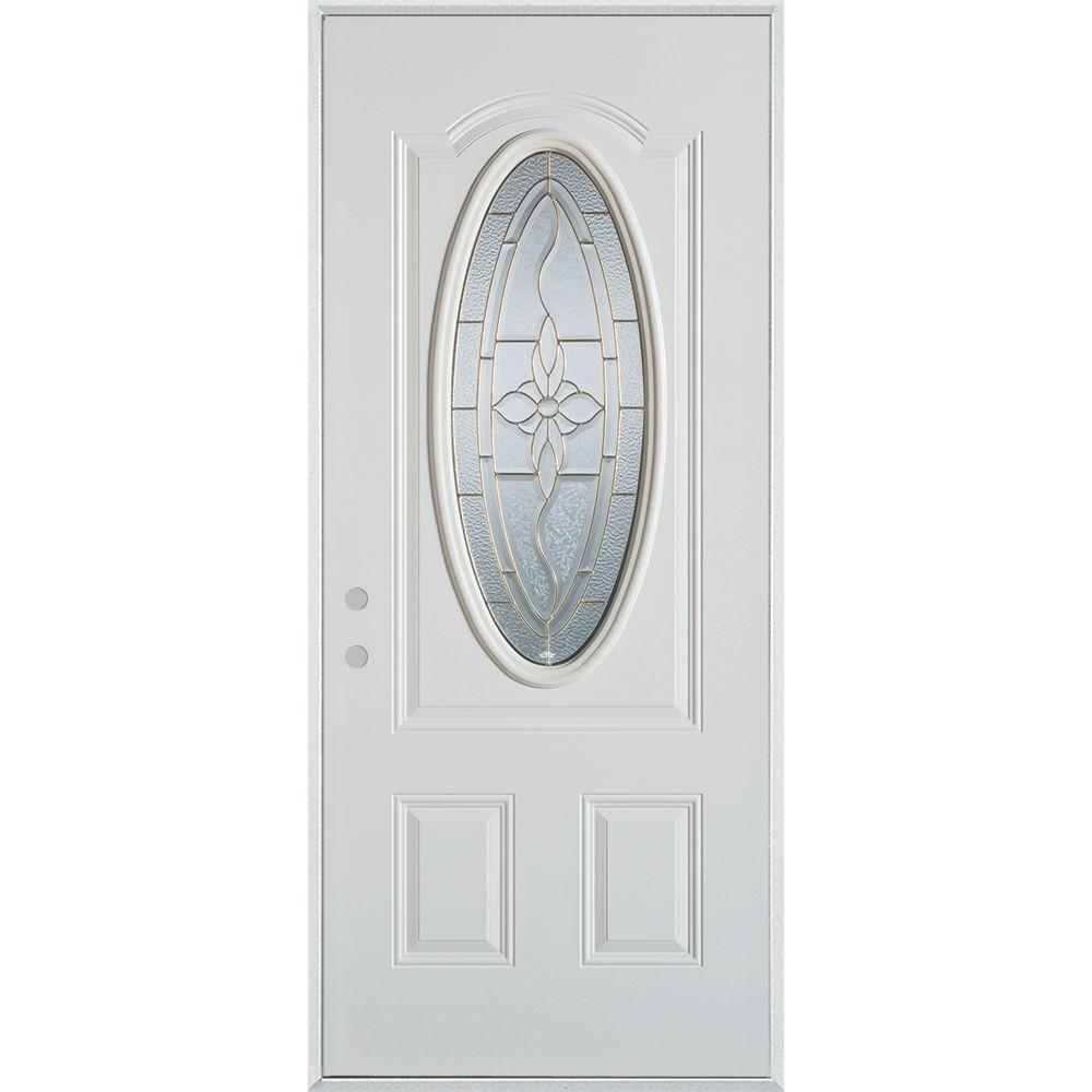 Stanley Doors 32 in. x 80 in. Traditional Brass 3/4 Oval Lite 2-Panel Painted White Right-Hand Inswing Steel Prehung Front Door