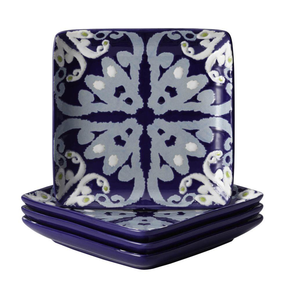 Rachael Ray Dinnerware Ikat 4-Piece Stoneware Appetizer Plate Set in Blue Print