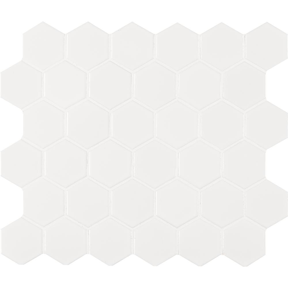 MS International White Glossy Hexagon 11 in. x 13 in. x 6 mm Porcelain Mesh-Mounted Mosaic Tile (19 sq. ft. / case)