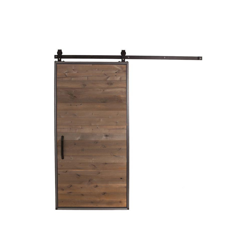 Rustica hardware 42 in x 84 in mountain modern home depot grey wood barn door with mountain - Barn door track hardware home depot ...