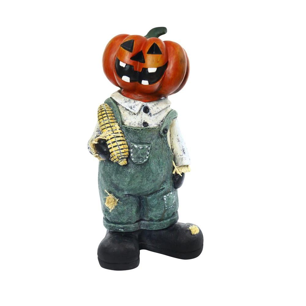 Alpine 19 in pumpkin man holding corn cob halloween decor mcc362 the home depot Halloween decorations home depot