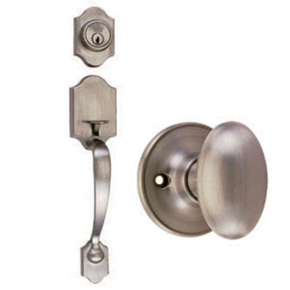Design House Sussex Satin Nickel Handleset with Egg Knob Interior and Single Cylinder Deadbolt