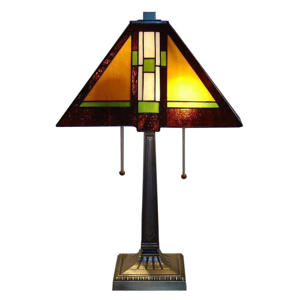 Serena D'italia Tiffany Mission 23 in. Bronze Table Lamp-MIS102 - The