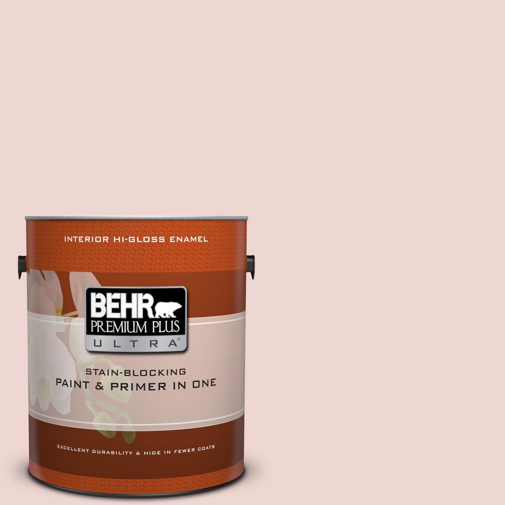 BEHR Premium Plus Ultra 1 gal. #150E-1 Delicate Blush Hi-Gloss Enamel Interior Paint