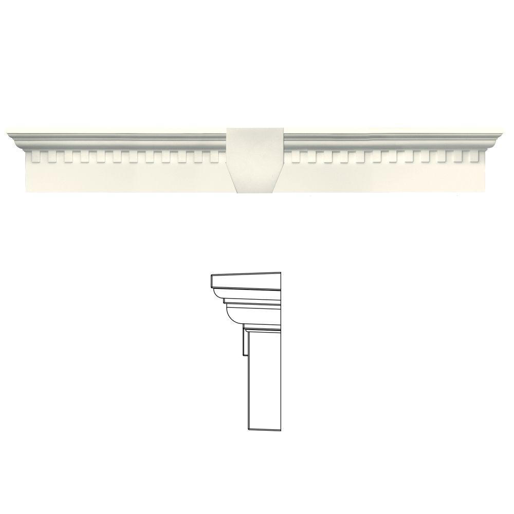 Builders Edge 6 in. x 37 5/8 in. Classic Dentil Window Header with Keystone in 034 Parchment