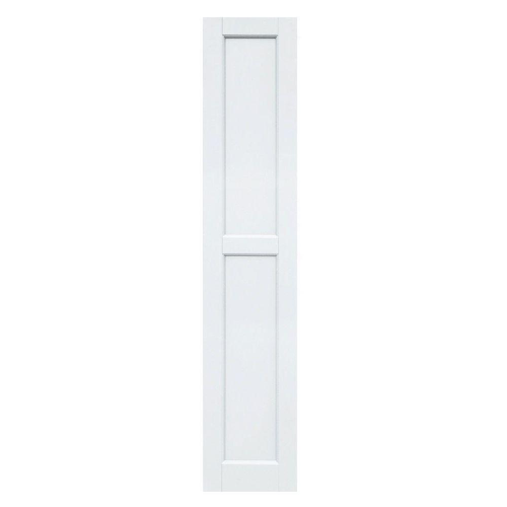 Winworks Wood Composite 12 in. x 61 in. Contemporary Flat Panel Shutters Pair #631 White