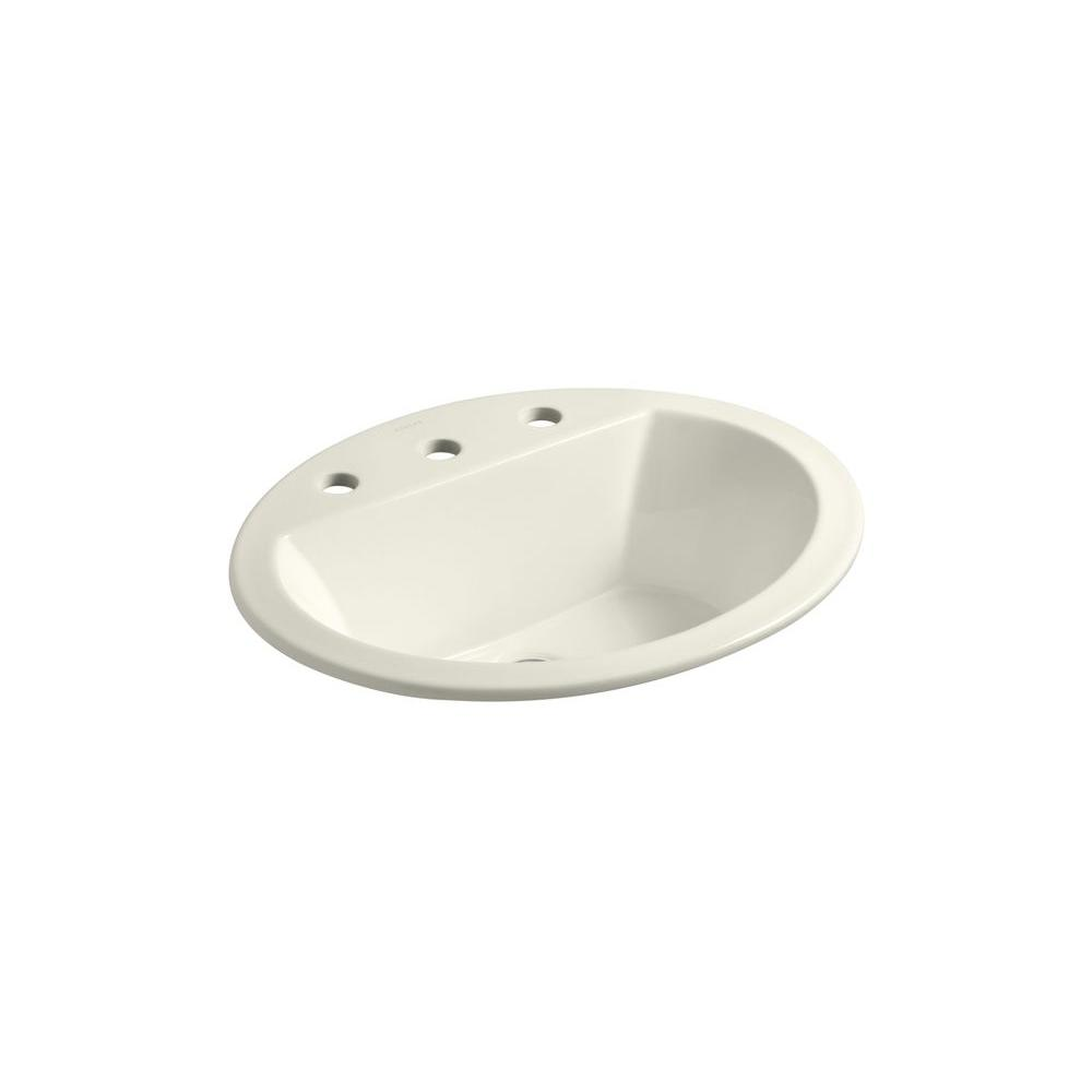 Bryant Drop-In Vitreous China Bathroom Sink in Biscuit with Overflow Drain