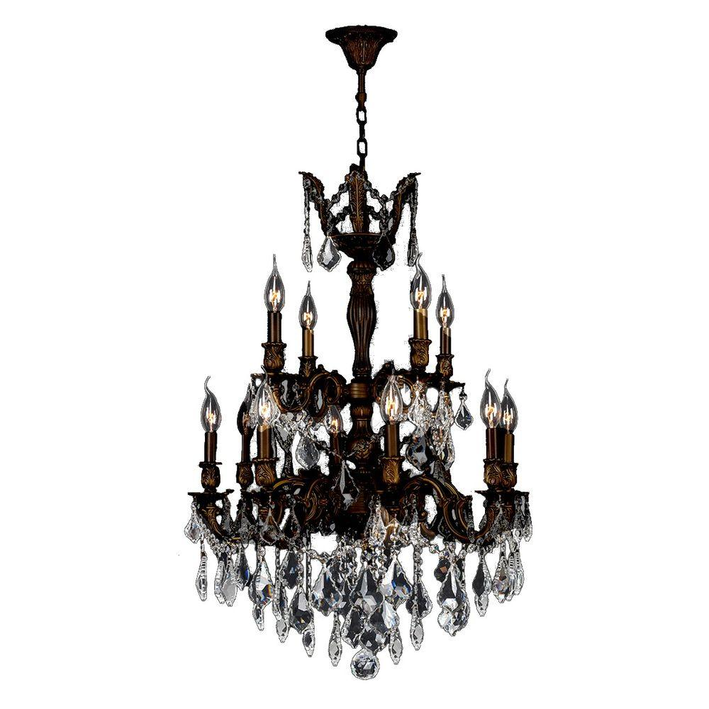 Versailles Collection 12-Light Flemish Brass Crystal Chandelier