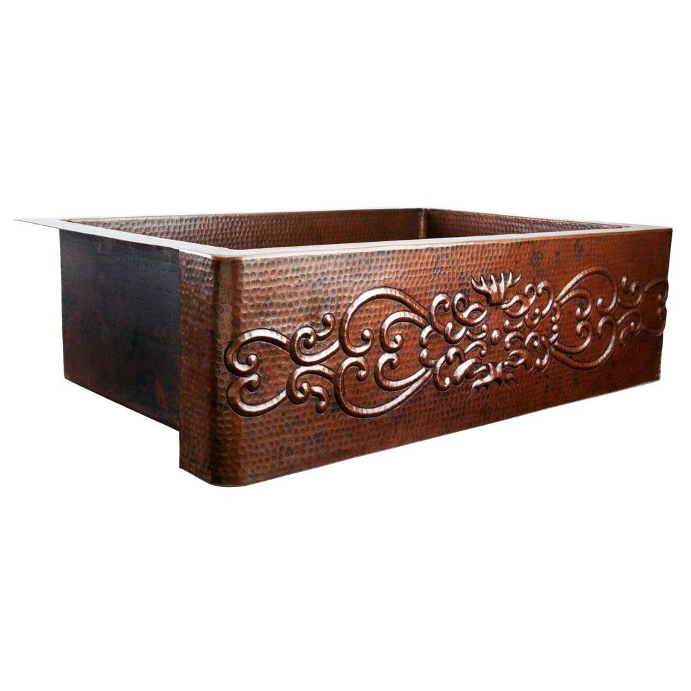 SINKOLOGY Pauling Farmhouse Apron Front Handmade Pure Copper 22 in. Single Basin Kitchen Sink with Scroll Design