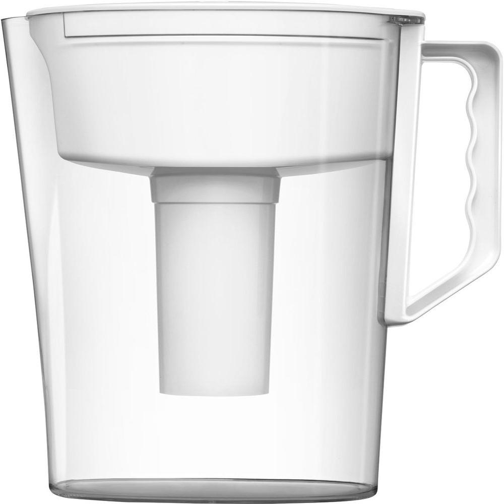 Five 8 oz. Glasses Slim Water Filter Pitcher